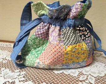 Quilted Drawstring Bag Knitting Bag  1930's Reproduction fabric-One of a Kind Made in USA