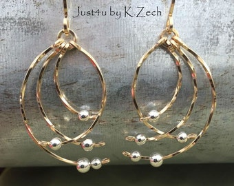 Gold Earrings, sterling silver wire wrapped wire jewelry