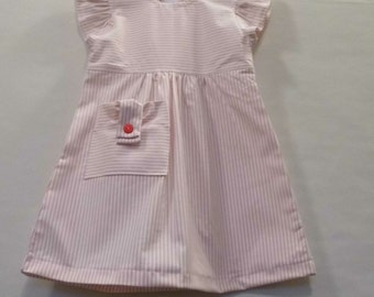 Little girl dress, Red dress, stripe dress, holiday dress, girls Easter dress, everyday dress, casual dress, play dress, Sunday dress