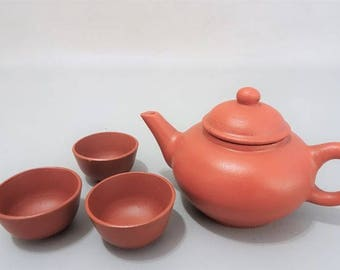 Small Yixing teapot with 3 cups-red clay earthenware-China-marked-Signed-gift for man woman