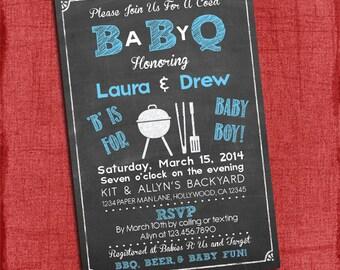 Baby Boy Q Baby Shower Invitation - Barbecue baby shower - Coed Baby Shower Invite