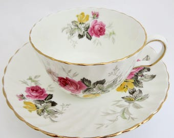 Adderley Tea Cup and Saucer, Pink and Yellow Roses, 1940s Fine Bone China