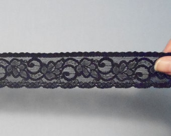 5 Yds of 1.5 Inch Wide Black Stretch Elastic Lace