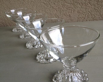 Clear Boopie Sherbet Glasses Anchor Hocking Vintage Set 6 Champagne Coupes ~