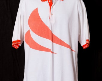 Vintage 80s 90s Polo Shirt athletic - orange white - NOLOGO TONIX - L