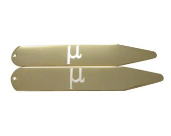 Gold Toned Etched Greek Letter Mu Collar Stays