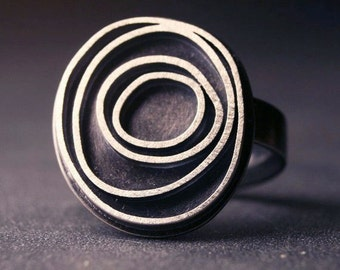 Modern sterling silver ring with oxidized concentric circles, Orbit