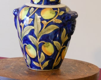 Dark Blue Asian-Themed Floral Vase