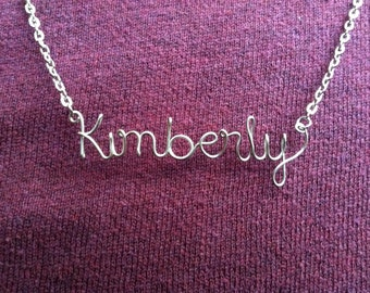 Personalized Custom Name Necklace or Word Necklace Wire Silver Gold