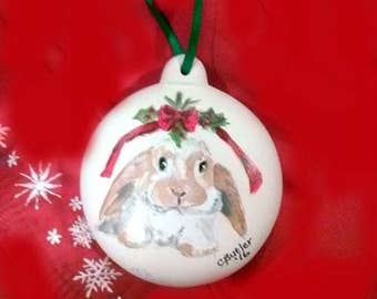 custom handpainted pet ornament, bisque ornament, furbaby ornament, Christmas ornament, dog ornament, rabbit ornament, porcelain ornament
