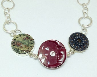 Moon and Stars Antique Button Bracelet