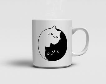 Yin Yang Cats Mug - Perfect Gift - Tea Coffee Drinking Cup / Mug - Ceramic White