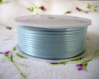 1/16 inch Blue Satin Ribbon for Crafting, Tags, Baby Shower, Party Favor, Sewing, Scrapbooking, Hair Accessories, 100 yards