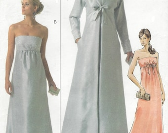 Womens Stunning Strapless Evening Gown and Full Length Evening Coat OOP Vogue Sewing Pattern V8115 Size 18 20 22 Bust 40 42 44 FF