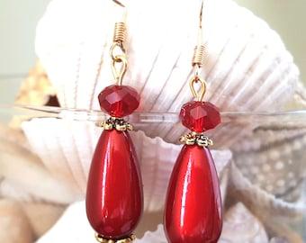 Red Drop Earrings, Valentine's Earrings, Drop Earrings, Valentine's Dangle Earrings