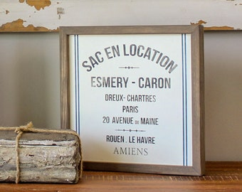 French Rustic Farmhouse Sign - French Grain Sack - French Country Decor - Vintage Style Grain Sack - Rustic Wall Decor - Farmhouse Decor