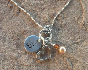 Open Heart Necklace, Womens Initial Necklace, Girl Monogram Necklace, Child Letter Necklace, Personalized Necklace, Birthstone Necklace