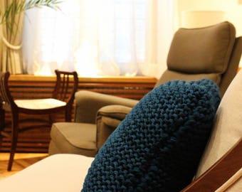 PINE GREEN big cushion, chunky knit cushion, knit pillow, decorative pillow, chunky knitted pillow, eco fashion, sustainable fashion