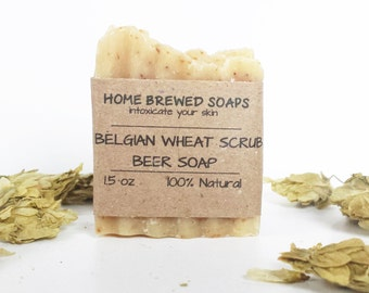 Beer Soap - Belgian Wheat Scrub - Pale Ale Soap - Beer Soap - Natural Soap - Gifts for Beer Lovers - Soap with Beer