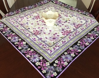Handmade Quilted Lilac Floral Table Topper, Spring Quilted Table Topper, Summer Quilted Table Topper, Handmade Quilted Tablecloth,