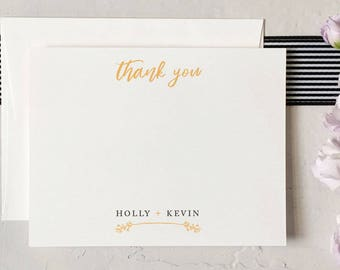 Personalized Wedding Thank You Cards - Custom Wedding Stationery - Couples Thank You Cards [Q317-002]