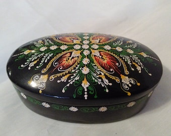 trinket box lacquerware paper mache jewelry box russian handpainted box