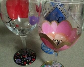Custom hand-painted wine glasses 20oz./Custom design glass/painted wine glass/your design here