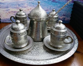 Vintage silver plate coffee sets, Turkish coffee, vintage coffee set, Turkish coffee set, Turkish coffee pot, espresso set, espresso coffee