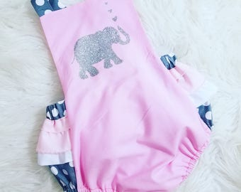 Pink and Gray Vintage Style Baby Romper~Elephant Romper