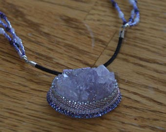 Handmade Bead Embroidered Necklace Amethyst Druzy