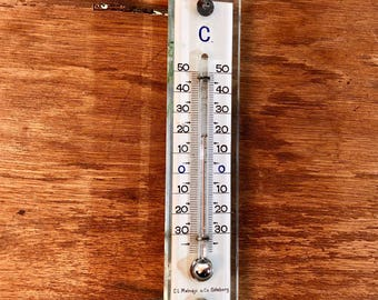 FREE WORLDWIDE SHIPPING - Mid century thermometer in glass and brass