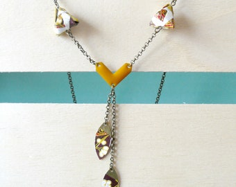 mustard gold and white diamond origami necklace