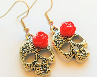 Silver Sugar Skull Earrings Red Rose Day of the Dead Earrings