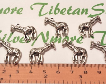 8 pcs per pack 25x12mm 3D Giraffe Charm Antique Silver Lead Free Pewter