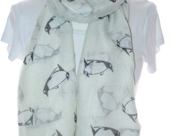 Cream penguin Scarf shawl, Beach Wrap, Cowl Scarf, cream penguin print scarf, cotton scarf, gifts for her