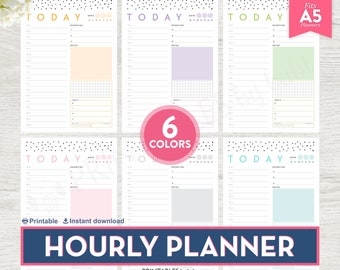 Printable Hourly Planner, A5 Daily Planner Inserts, Daily Hourly Schedule, Hourly Planner Printable, Daily Planner Printable Hourly Schedule