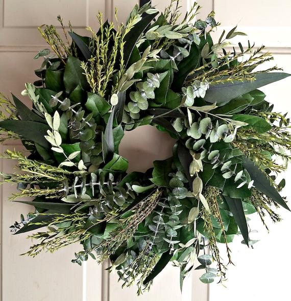 Preserved wreath, 23 inch custom wreath, small wreath, leaf wreath, large wreath, indoor wreath, eucalyptus wreath, natural wreath