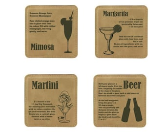 Coaster Set- Mixed Drink Recipes (Light Brown Leatherette)
