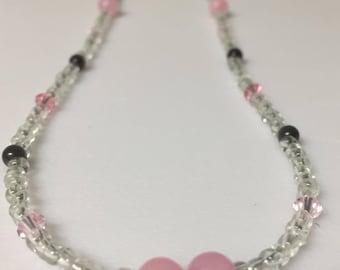 Pink Swarovski and Gray Cats Eye Necklace