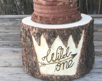 Pine Wood Rustic (8-9 in) Cake Smash Cake Stand Photography Prop photo shoot, wild one with an arrow, where the wild things are, boho Party
