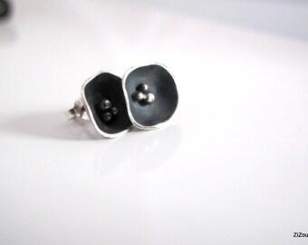 Stud earrings, flower silver studs ,oxidized,  flower, black - Black flower