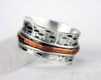 Rustic Hammered Silver Spinner with Copper Band, Birch Bark Meditation Ring, Mixed Metal Fidget Ring