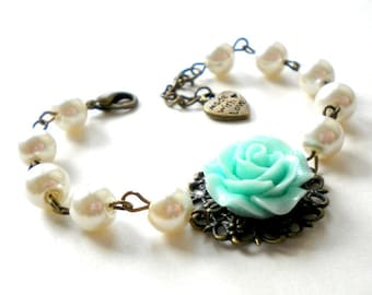 Bachelorette Party Gifts Turquoise Bridesmaid Bracelet Bridal Shower Jewelry Turquoise Wedding Jewelry Turquoise Flower Bracelet