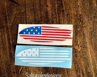 Surfboard decal, American Flag decal, surfing decal, Surf decal, birthday gift, gift for her, yeti decal, car decal, Mother's day