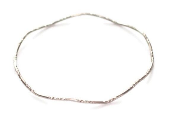 Wavy Bangle Bracelet Silver Tone Larger Wrist Stacking Skinny Wave Bracelet