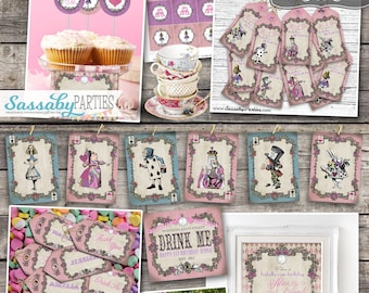 Alice in Wonderland Party Collection - Harlequin - INSTANT DOWNLOAD - Partially editable Tea Party Birthday Party Invitation and Decorations