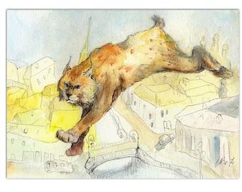 Bobcat decor Cat painting Lynx PRINT Wildcat watercolor Wild animal print Trot decor Fairy animals art Wild cat decor Catamount painting