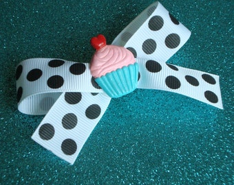 Cupcake Hair Clip ~ ooak Polka Dot Bow Barrette