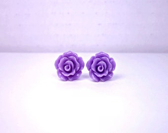 Purple Rose Earrings; Flower Stud Earrings; Rosette Earrings; Rose Jewelry; Small Rose Stud Earrings; Lavender Earrings; Resin Rose Earrings