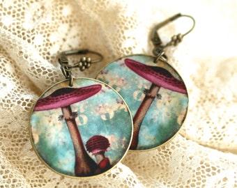 Mushroom Earrings - Pink Mushroom - Mushroom - Woodland - Forest - Pink - Shrink Plastic - Circle Earrings - Round Earrings-Mushroom Jewelry